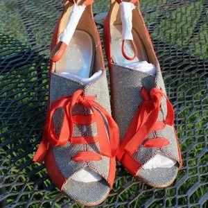 envy Shoes - Orange and Tweed Peekaboo Heels
